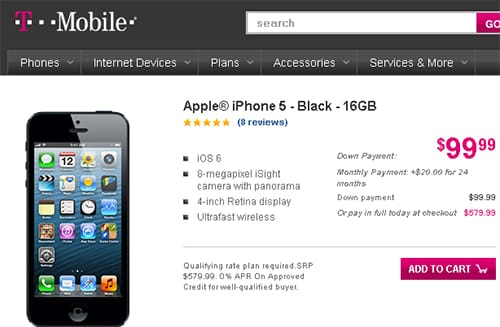 T Mobile Quietly Ps Up Front Of An Iphone 5 By 50 To